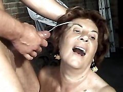 Aged woman gets facial after fuck